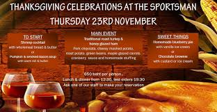 thanksgiving celebration at the sportsman pub on november 23