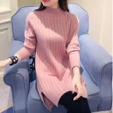 warm womens sweaters turtleneck sweater slit dress 2017 sleeve knitting
