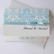 white lace blue personalised wedding invite all ways design