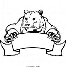 royalty free vector of a black and white bear and banner logo by