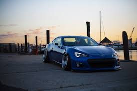 stanced subaru hd wallpaper subaru side view blue sports car tuning hd picture