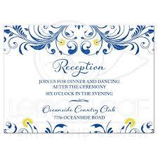 Invitation Cards For Wedding Reception Royal Blue Yellow Floral Wedding Reception Enclosure Card