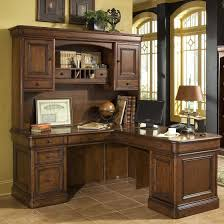 L Shaped Office Desk With Hutch Furniture L Shaped Brown Solid Wood Corner Computer Desk With