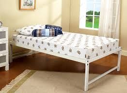 Space Saving Queen Bed Day Bed Frame U0026 Pop Up Trundle 39 U0027 U0027 Twin Size White Steel High