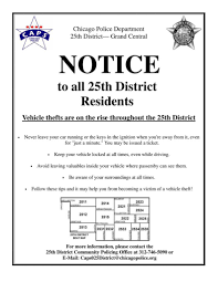 Chicago District Map by Notice Vehicle Thefts Throughout The 025th District Chicago