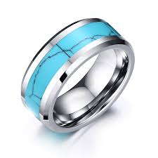 stone bands rings images Mens rings tungsten carbide with blue crack pattern natural stone jpg