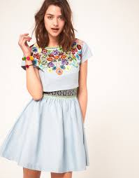 asos collection asos dress with embroidered t shirt in blue lyst