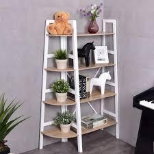 corner bookcase costway 4 tier wood corner bookcase ladder shelf wall unit