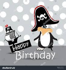 happy birthday card pirate penguin stock vector 105987977