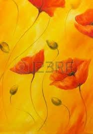 poppy painting on orange background poppy flower on abstract