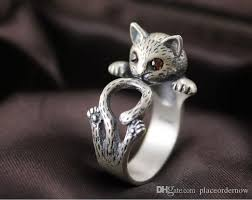 design silver rings images Women lady silver plated cat rings fashion kitten design party cat jpg