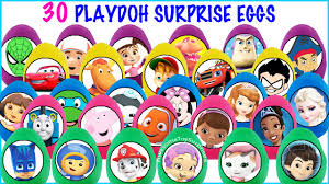 30 play doh surprise eggs nick disney junior toys pj masks