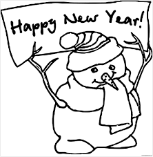 happy new year snowman coloring page free coloring pages online