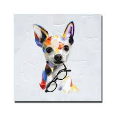 dog oil painting by hand drawing modern knife paintings lovely pet