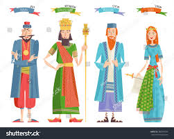 esther purim costume festival purim book esther characters stock vector