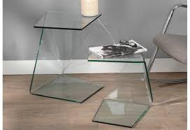 set de 2 bouts de canapé design déstructuré en verre amadeus amadeu
