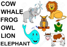 animals with labels for kids elephant cow frog owl lion