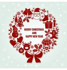 merry and happy new year card santa and vector image