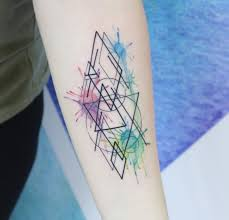the 25 best geometric watercolor tattoo ideas on pinterest