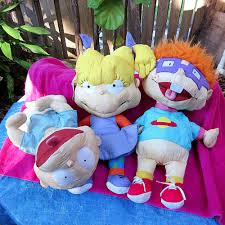 set of 3 big nickelodeon rugrats dolls 1998 tommy pickles angelica