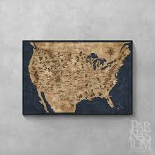 United States Map Poster by Fantasy Map Of United States Usa Map Poster Usa Wall Map