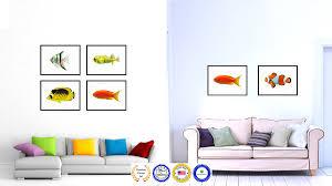 orange tropical fish aqua marine life home decor wall art