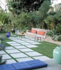 Modern Landscaping Ideas For Backyard by Artificial Turf Next To Pavers For The Home Pinterest