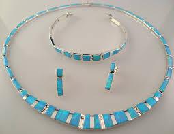 blue opal necklace mexico silver multi inlay opal necklace u0026 bracelet set