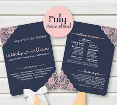 Wedding Program Card Stock Wedding Program Fan Navy Pink Blush Lace Fully By Perfectlymatched