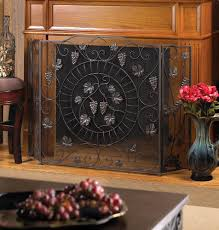 decorative fireplace screens cast iron black vineyard antique