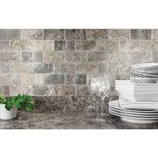 Natural Stone Kitchen Backsplash Anatolia Tile Silver Crescent Tumbled Natural Stone Mosaic Subway