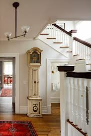 Victorian Banister Transitional Grandfather Clock Entry Victorian With Oriental Rug