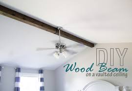 Angled Ceiling Fan by How To Faux Wood Beam On A Vaulted Ceiling The Hazel Darling