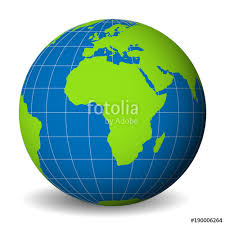 3d africa map vector earth globe with green world map and blue seas and oceans focused
