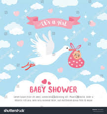 baby shower card stork carrying cute stock vector 548253883