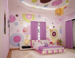 cheerful teen bedroom paint idea for girls with colorful circles