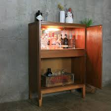 mid century teak drinks cabinet mustard vintage