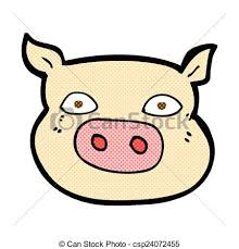 clipart vector comic cartoon pig face retro comic book style