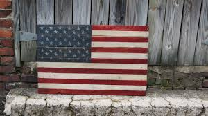 Wooden American Flag Wall Hanging Large United States Flag Hand Painted On Reclaimed Pallet