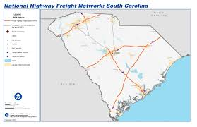 Network Map National Highway Freight Network Map And Tables For South Carolina