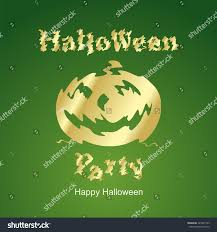 halloween gold halloween gold party green background stock vector 225541249