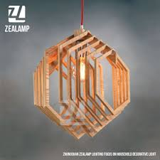Wood Pendant Light Fixture Nordic Creative Brief Wooden Pendant Lamps Hexagon Shape Living