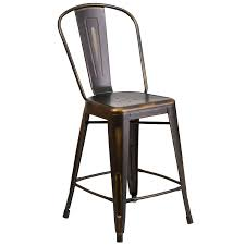 24 Inch Bar Stools With Back Amazon Com Flash Furniture 24 U0027 U0027 High Distressed Copper Metal