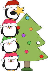 penguins putting a star on a christmas tree clip art penguins
