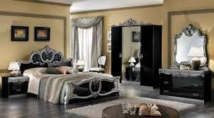 Black Classic Bed Designs Barocco Black W Silver Camelgroup Italy Classic Bedrooms