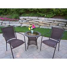 Stackable Patio Furniture Set - shop oakland living resin wicker 3 piece glass bistro patio dining