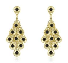 gold chandelier earrings phiona onyx filigree gold chandelier earrings 18k gold beloved