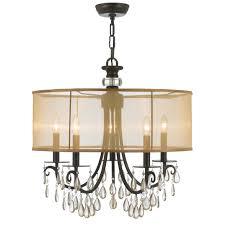 5 Light Bronze Chandelier Crystorama Lighting 5625 Eb Bronze Hton 5 Light
