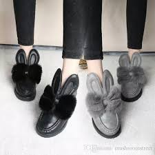 womens boots for flat autumn winter boots rabbit ears maomao shoes