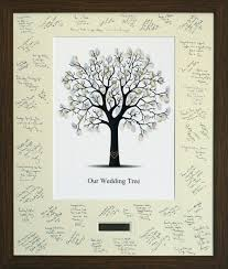 engraved framed personalised fingerprint tree